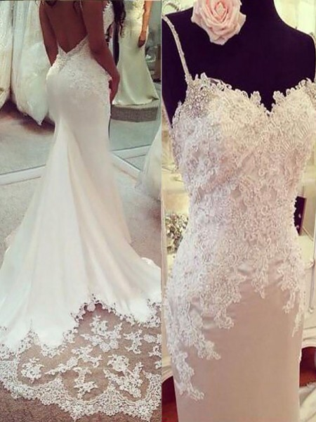 Trumpet/Mermaid Satin Spaghetti Straps Court Train Applique Wedding Dress