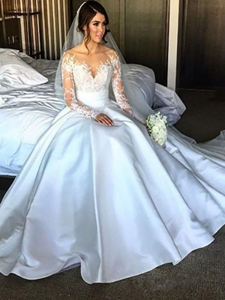 Ball Gown Satin Court Train Wedding Dress