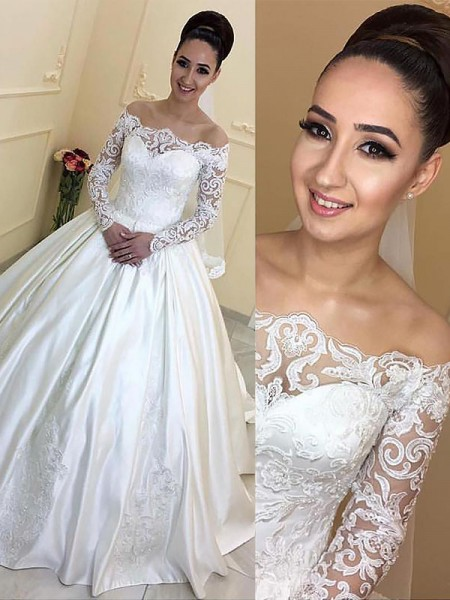 Ball Gown Off-the-Shoulder Satin Court Train Wedding Dress