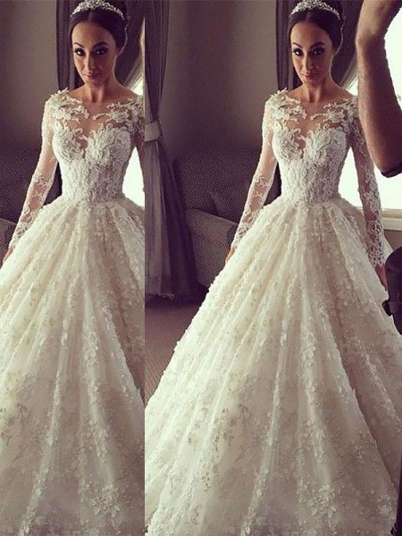 Ball Gown Scoop Court Train Lace Wedding Dress
