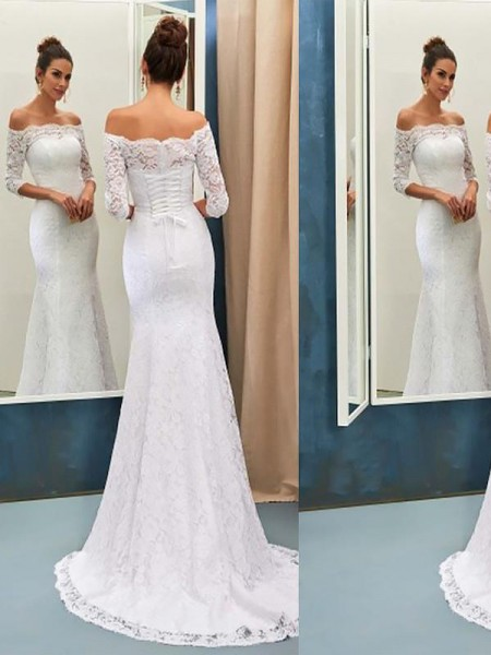 Trumpet/Mermaid Off-the-Shoulder Sweep/Brush Train Lace Wedding Dress