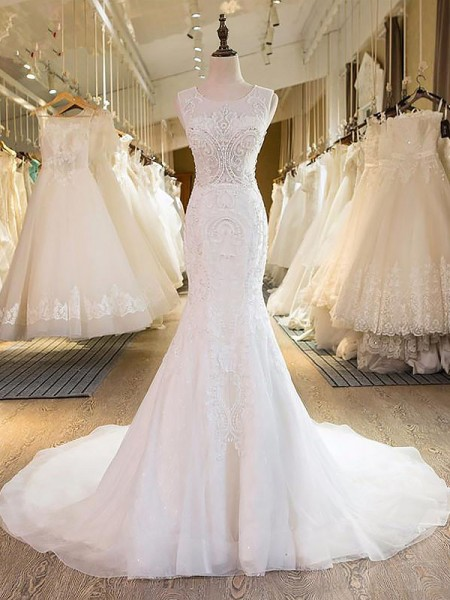 Trumpet/Mermaid Tulle Scoop Sweep/Brush Train Wedding Dress