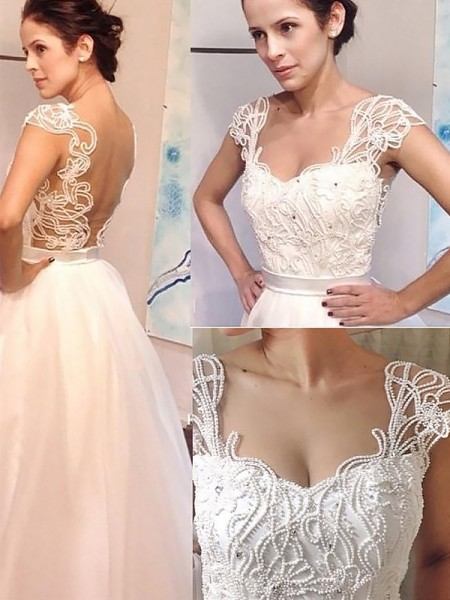 A-Line/Princess Sweetheart Sweep/Brush Train Tulle Wedding Dress