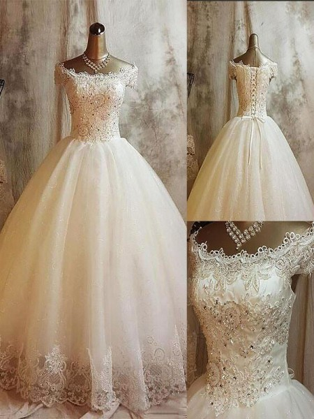 Ball Gown Off-the-Shoulder Sweep/Brush Train Tulle Applique Wedding Dress