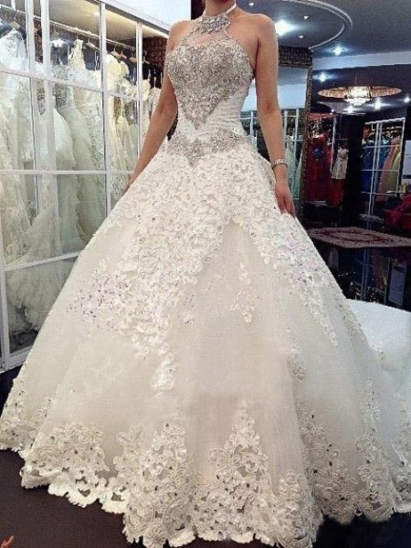 A-line/Princess High Neck Cathedral Train Tulle Wedding Dress