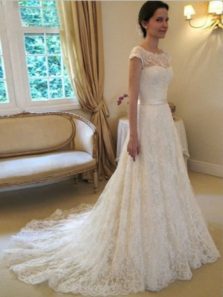 A-line/Princess Scoop Court Train Lace Sash/Ribbon/Belt Wedding Dress