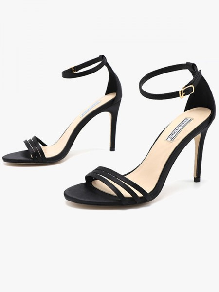 Silk Stiletto Heel Peep Toe Sandals