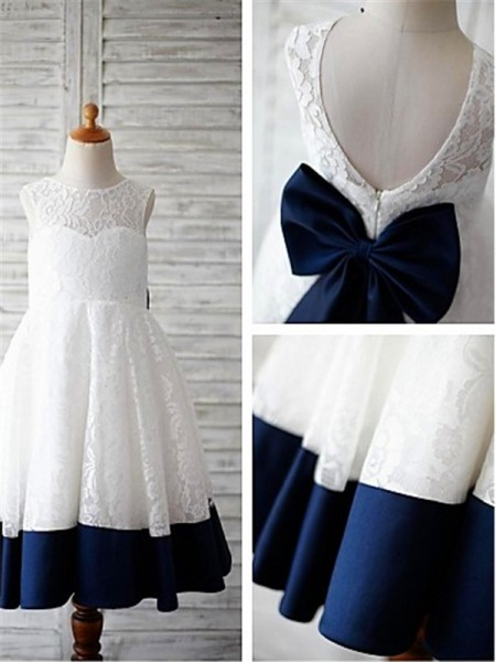 A-line/Princess Scoop Bowknot Tea-Length Lace Little Girl Dresses