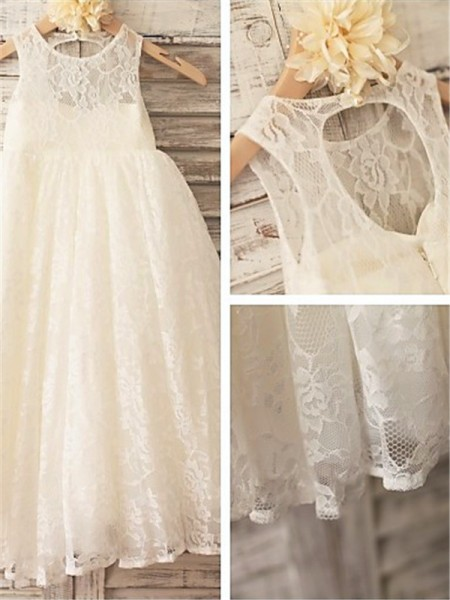 A-line/Princess Scoop Ankle-Length Lace Baby Girl Dresses