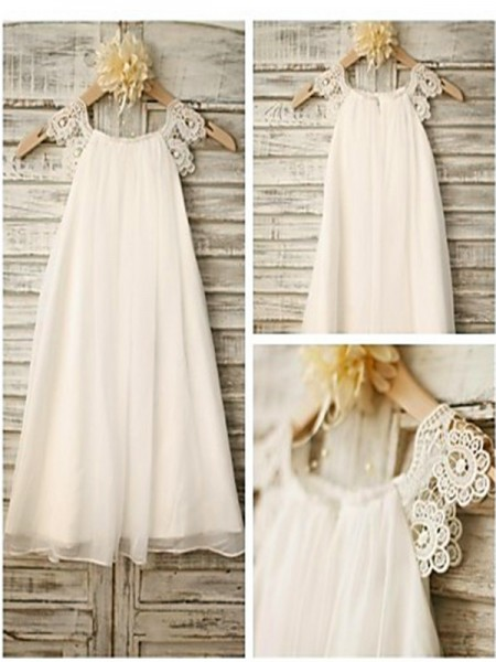 A-line/Princess Scoop Lace Tea-Length Chiffon Baby Girl Dresses