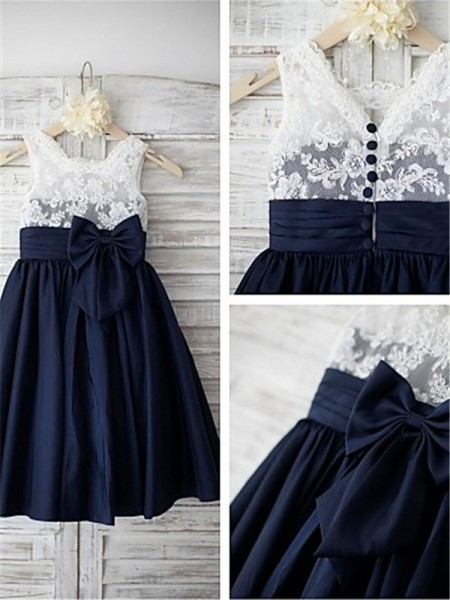 A-line/Princess Straps Bowknot Tea-Length Taffeta Little Girl Dresses