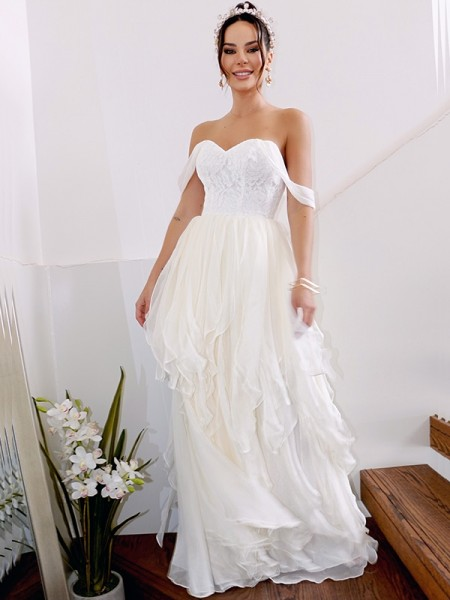 A-Line/Princess Chiffon Ruched Off-the-Shoulder Sleeveless Floor-Length Wedding Dresses