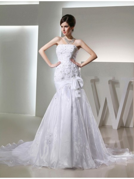 Trumpet/Mermaid Long Strapless Organza Wedding Dress