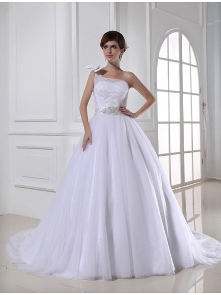 Ball Gown One-shoulder Satin Tulle Wedding Dress