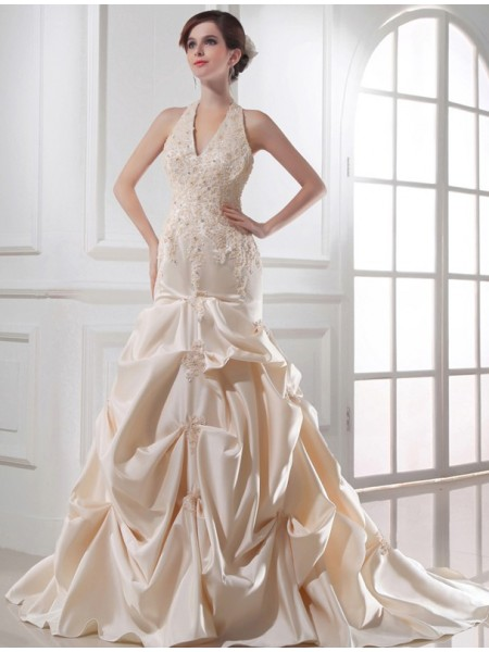Trumpet/Mermaid Halter Applique Satin Wedding Dress