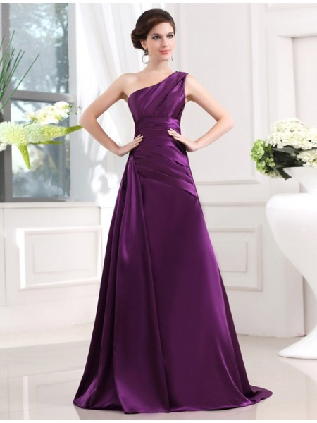 A-Line/Princess One-shoulder Elastic Woven Satin Pleats Long Dress