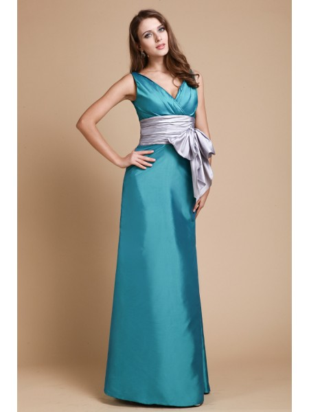 Sheath/Column V-Neck Sash/Ribbon/Belt Taffeta Bridesmaid Dress
