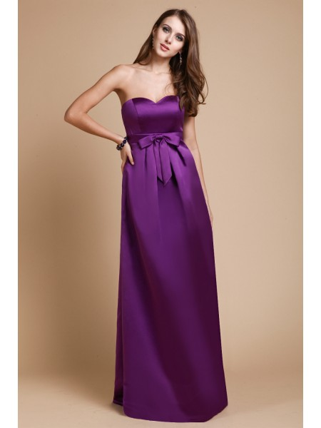 Sheath/Column Sweetheart Long Elastic Woven Satin Bridesmaid Dress