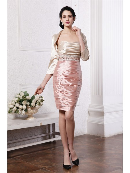 Sheath/Column Strapless Short Elastic Woven Satin Mother of the Bride Dress