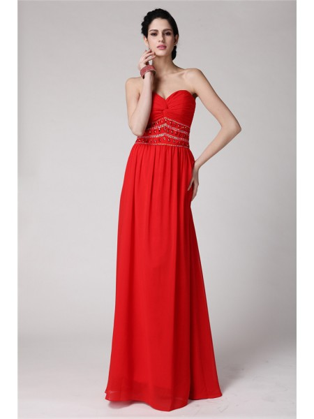 Sheath/Column Sweetheart Pleats Chiffon Dress