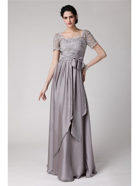 Sheath/Column Square Applique Elastic Woven Satin Mother of the Bride Dress