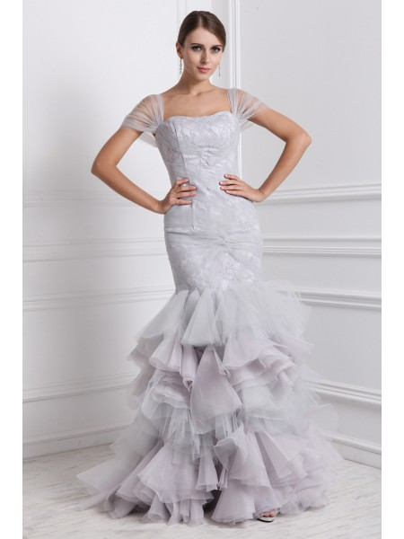 Trumpet/Mermaid Straps Ruffles Long Organza Dress