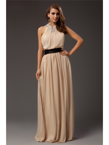 Sheath/Column Jewel Chiffon Dress