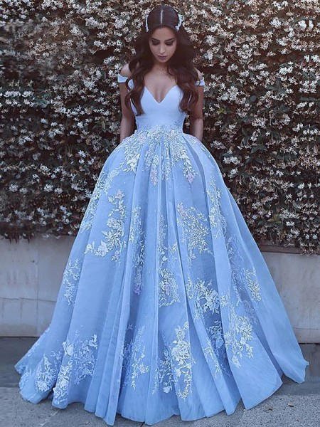 Ball Gown Sleeveless Off-the-Shoulder Applique Tulle Sweep/Brush Train Prom Gowns