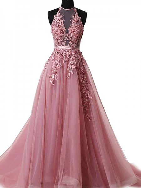 A-Line/Princess Halter Sweep/Brush Train Applique Tulle Dress