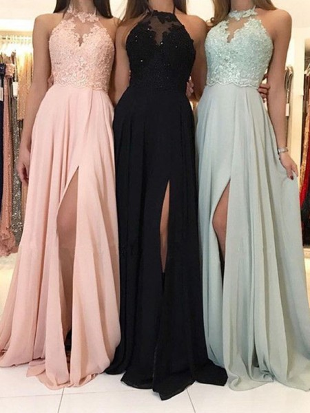 A-Line/Princess Halter Applique Sleeveless Ruched Sweep/Brush Train Dresses with Chiffon