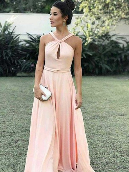 A-Line/Princess Halter Sleeveless Floor-Length Ruched Dresses with Chiffon
