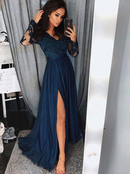 A-Line/Princess V-neck Long Sleeves Sweep/Brush Train Applique Ruched Dresses with Chiffon
