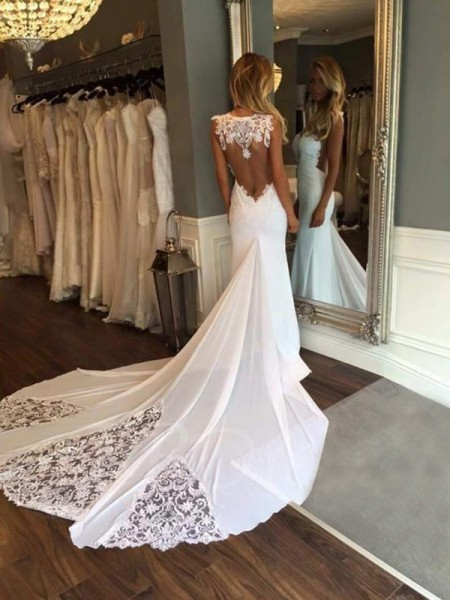 Trumpet/Mermaid Sleeveless Applique Cathedral Train Sweetheart Lace Wedding Dresses