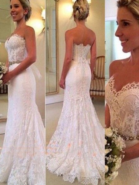 Trumpet/Mermaid Sleeveless Sweetheart Sweep/Brush Train Applique Lace Wedding Dresses