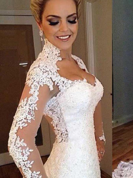 Trumpet/Mermaid V-neck Long Sleeves Sweep/Brush Train Applique Lace Wedding Dresses