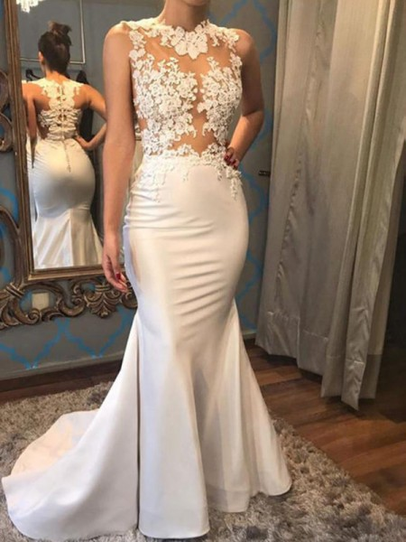 Trumpet/Mermaid Sleeveless Scoop Court Train Applique Satin Wedding Dresses