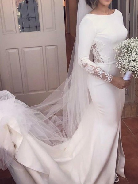 Trumpet/Mermaid Long Sleeves Scoop Court Train Lace Satin Wedding Dresses