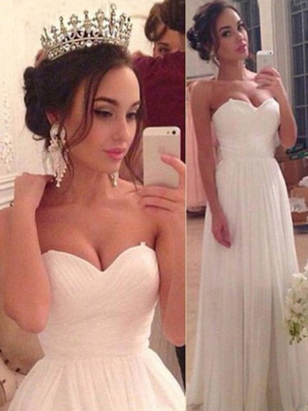 A-Line/Princess Sweetheart Sleeveless Ruffles Floor-Length Chiffon Wedding Dresses