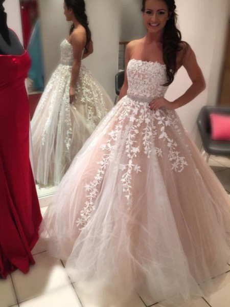Ball Gown Strapless Sleeveless Floor-Length Tulle Applique Wedding Dresses