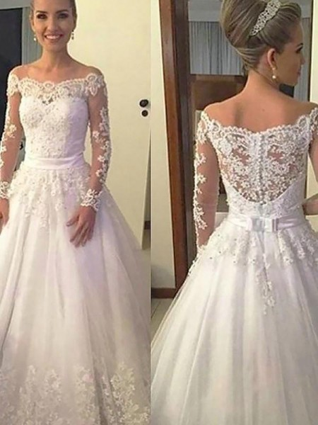 Ball Gown Tulle Applique Long Sleeves Court Off-the-Shoulder Train Wedding Dresses
