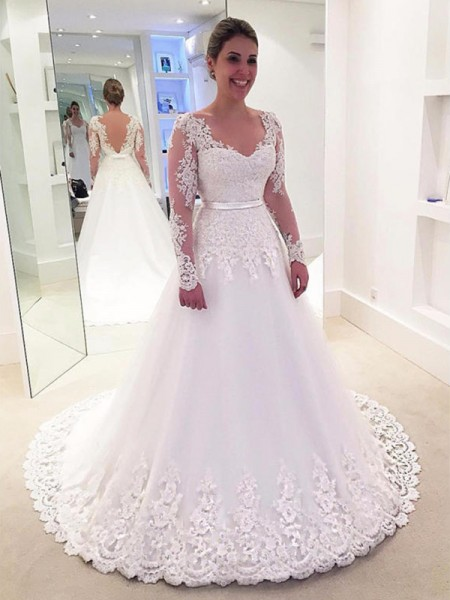 A-Line/Princess V-neck Applique Lace Long Sleeves Tulle Sweep/Brush Train Wedding Dresses