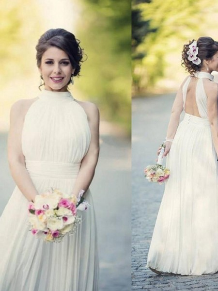 A-Line/Princess Halter Ruffles Sleeveless Tulle Floor-Length Wedding Dresses