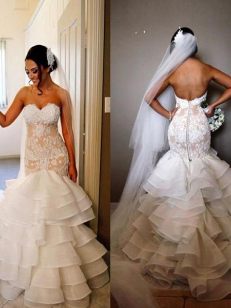 Trumpet/Mermaid Sleeveless Tulle Applique Sweetheart Sweep/Brush Train Wedding Dresses