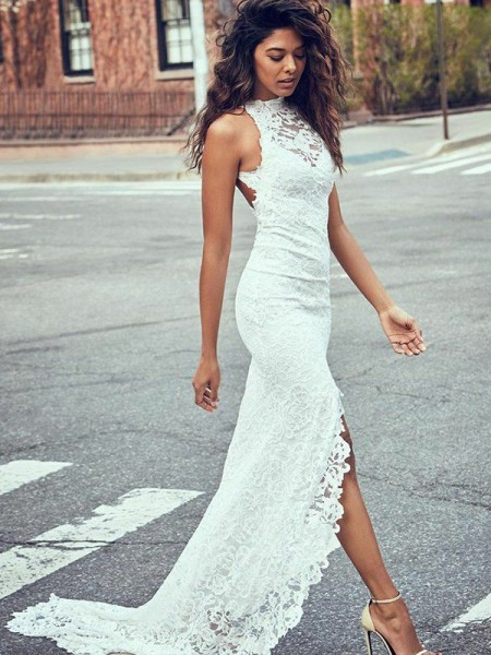 Trumpet/Mermaid Lace Sleeveless Halter Sweep/Brush Train Wedding Dresses