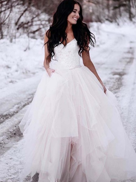 A-Line/Princess V-neck Ruched Tulle Sleeveless Floor-Length Wedding Dresses