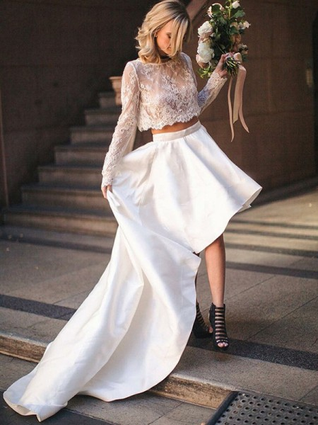 A-Line/Princess Long Sleeves Satin Lace Scoop Sweep/Brush Train Two Piece Wedding Dresses