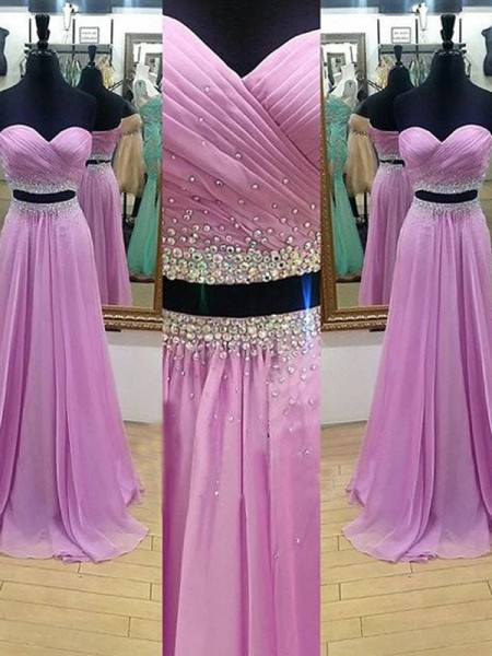 A-Line/Princess Sweetheart Floor-Length Chiffon Two Piece Dress