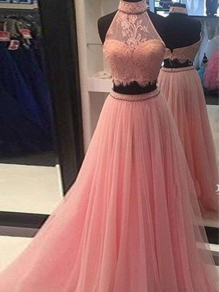 A-Line/Princess High Neck Tulle Lace Floor-Length Two Piece Dress
