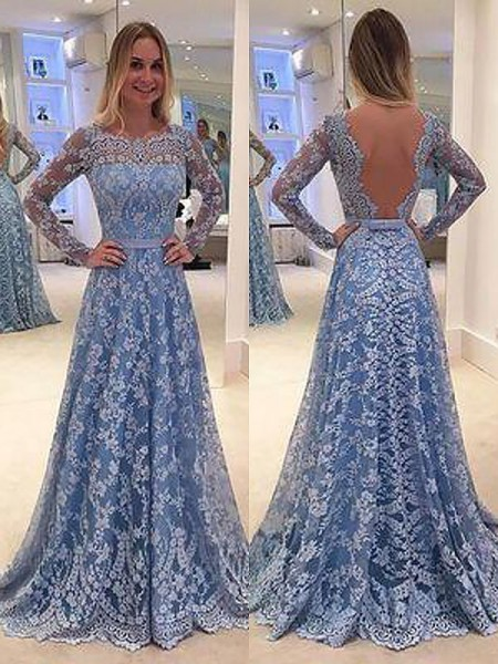 A-Line/Princess Long Sleeves Lace Floor-Length Bateau Ruffles Prom Gowns