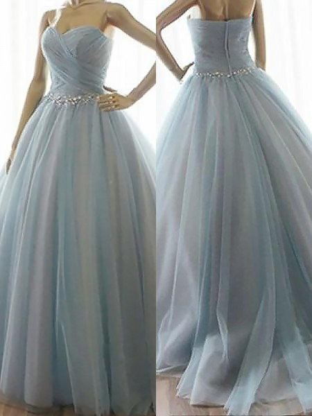 Ball Gown Sleeveless Sweetheart Beading Floor-Length Tulle Prom Gowns